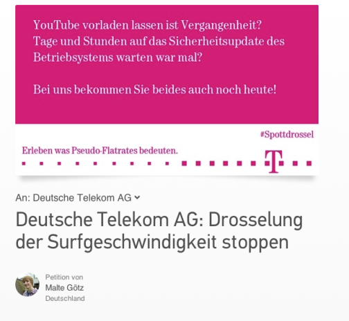 This is a screenshot from change.org and it shows the petition that requests that the Deutsche Telekom won't introduce new tariffs that would endanger net neutrality.